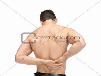 Rare view of a muscular man suffering from back pain