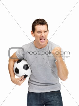 Portrait of an excited young guy soccer fan
