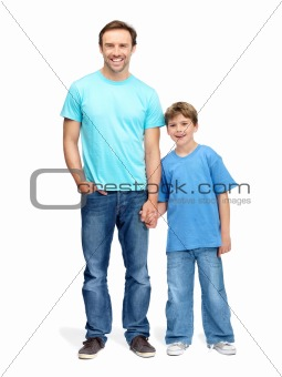 Portrait of a smiling man and his son holding hands