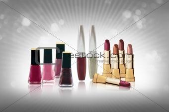 Cosmetics set - lipsticks and nail polishes