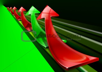Red and green arrows background