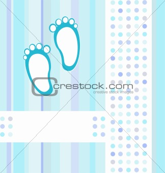 baby boy announcement blue card background wallpaper. vector illustration