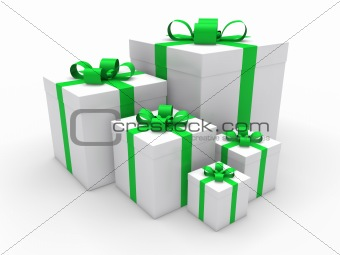 3d green gift box christmas