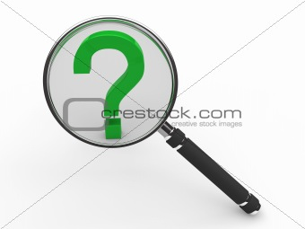 3d green guestion mark magnifying glass