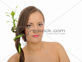 Beautiful spa woman with long healthy hair and pure skin