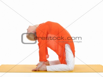 series or yoga photos. young woman in camel pose