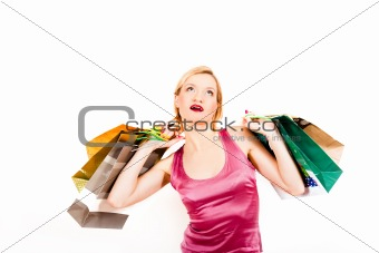 attractive young shopping woman with bags