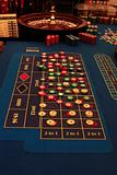 roulette table in casino with chips