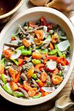 beef meat with peppers, onion and capers