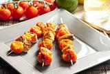 salmon and cherry tomatoes skewers