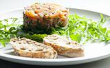 salmon tartare with ruccola