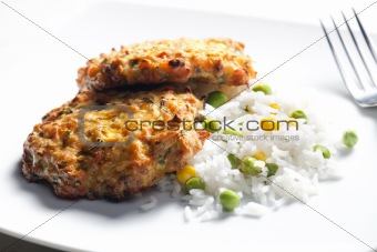baked salmon burgers with vegetables rice