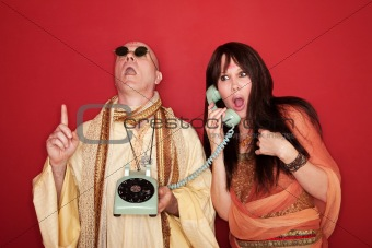 Shocked Woman On Phone Call with Deity