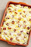 potatoes and bacon baked with pecorino cheese