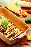 baked tacos with minced meat and cheese