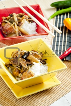 poultry meat with corn and shitake mushrooms