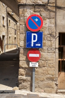 three traffic signs