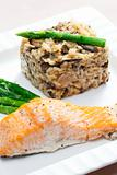 baked salmon with mushroom risotto and green asparagus