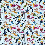 cartoon diver seamless pattern