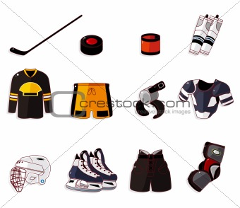 Vector ice hockey icon set