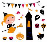 Halloween Witch Girl & items, icons and design elements