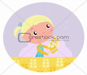 Little cute girl with yellow harvested grain isolated on white