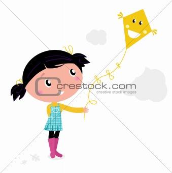 Little cute kid flying kite isolated on white