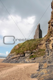 castle ruins above the cliffs