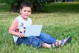 The little boy with the laptop