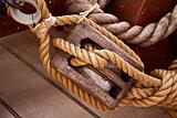 Hessian rope and wooden pulley