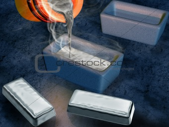 Silver ingot casting