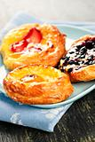 Three fruit danishes