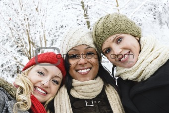 Group of girl friends outside in winter
