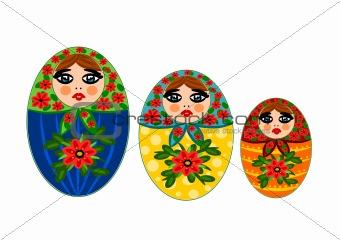 Three beauty wooden dolls