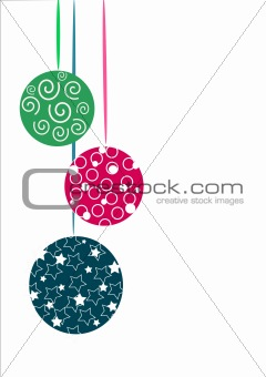 Three glasses christmas tree balls - vector