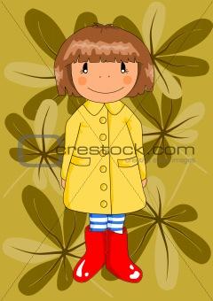 Happy girl in red wellingtons.