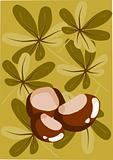 Three chestnut and autumn background - vector