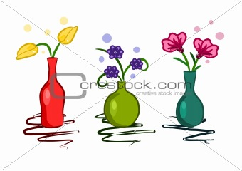 Three colorful vase with flowers - vector