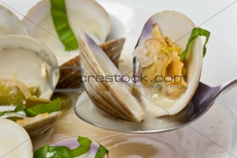 Close up of Spicy Clam Soup