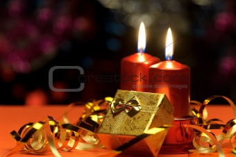 Christmas candles and gift boxes