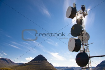 Blue sky sunlight and cell antenas - Iceland