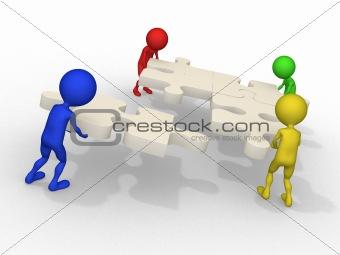 3d businessmen connecting puzzles