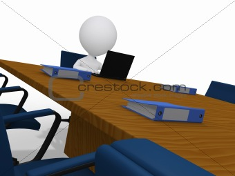 3d businessman waiting in meeting room in corporate office