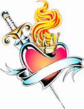 heraldic heart tattoo emblem
