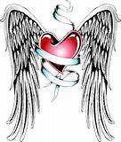 heraldic heart tattoo emblem
