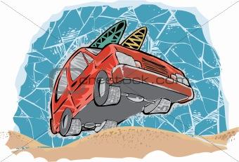 car going to beach