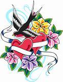swallow heart flower emblem