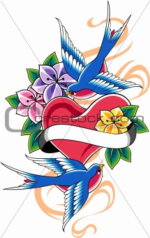 swallow heart flower emblem