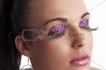 creative make up with long eyelashes