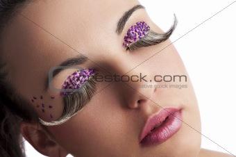 beauty closeup of long eyelashes